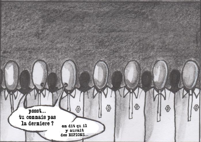 Des hommes en costumes discutent de la présence d'un espion dans l'entreprise