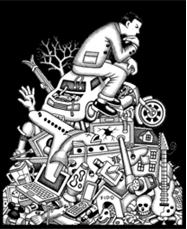 penseur sur déchets