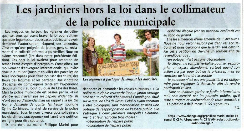 article les jardiniers hors la loi dans le colimateur de la police municipale